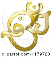Shiny Reflective Gold Om Or Aum Hinduism Symbol