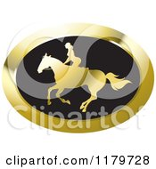 Clipart Of A Gold And Black Silhouetted Woman Horseback Riding Icon Royalty Free Vector Illustration