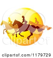 Clipart Of Silhouetted Women Horseback Riding Against A Sunset Icon Royalty Free Vector Illustration