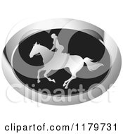 Clipart Of A Silver And Black Silhouetted Woman Horseback Riding Icon Royalty Free Vector Illustration by Lal Perera