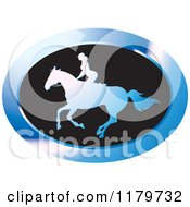 Clipart Of A Blue And Black Silhouetted Woman Horseback Riding Icon Royalty Free Vector Illustration by Lal Perera