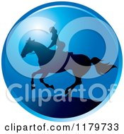 Clipart Of A Silhouetted Woman Horseback Riding Against A Blue Sky Royalty Free Vector Illustration by Lal Perera