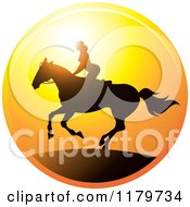 Clipart Of A Silhouetted Woman Horseback Riding Against A Sunset Royalty Free Vector Illustration by Lal Perera