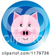 Clipart Of A Pink Pig Face On A Blue Icon Royalty Free Vector Illustration