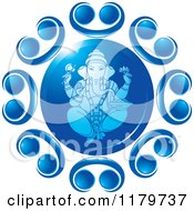 Clipart Of The Hindu Indian God Ganesha In Blue With Designs Royalty Free Vector Illustration