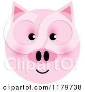 Clipart Of A Pink Pig Face Royalty Free Vector Illustration