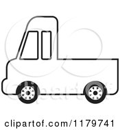 Clipart Of A Black And White Delivery Truck Royalty Free Vector Illustration