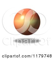 Clipart Of A 3d Orange Sphere With A Fractal Pattern And Shadow Over White Royalty Free CGI Illustration by oboy