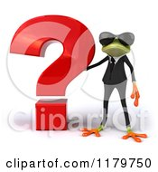 Clipart Of A 3d Formal Frog With Sunglasses And A Question Mark 2 Royalty Free CGI Illustration