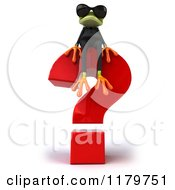 Clipart Of A 3d Formal Frog With Sunglasses And A Question Mark Royalty Free CGI Illustration