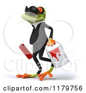 Clipart Of A 3d Formal Frog With Sunglasses Paintbrush And Bucket 3 Royalty Free CGI Illustration