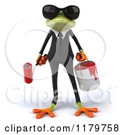 Clipart Of A 3d Formal Frog With Sunglasses Paintbrush And Bucket Royalty Free CGI Illustration