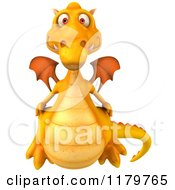 Clipart Of A 3d Yellow Dragon Royalty Free CGI Illustration