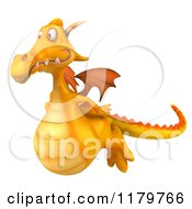 Clipart Of A 3d Yellow Dragon Flying Royalty Free CGI Illustration