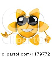 Clipart Of A 3d Presenting Sun Character With Shades Royalty Free CGI Illustration by Julos