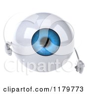 Clipart Of A 3d Blue Eyeball Mascot Pointing Outwards Royalty Free CGI Illustration by Julos