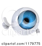Clipart Of A 3d Blue Eyeball Mascot Giving A Thumb Up Royalty Free CGI Illustration