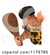 Clipart Of A 3d Caveman Holding A Club Around A Sign Royalty Free CGI Illustration by Julos