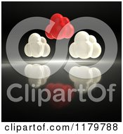 Clipart Of 3d Red And White Clouds On A Reflective Dark Background Royalty Free CGI Illustration