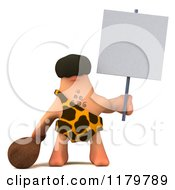 Clipart Of A 3d Caveman Holding A Club And A Sign Royalty Free CGI Illustration by Julos