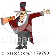 Cartoon Of A Circus Ringmaster Man Making An Announcement With A Megaphone Royalty Free Vector Clipart