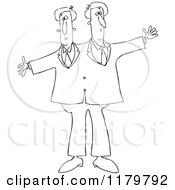 Cartoon Of Outlined Circus Freak Siamese Twin Men Royalty Free Vector Clipart