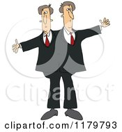 Cartoon Of Circus Freak Siamese Twin Men Royalty Free Vector Clipart