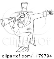 Outlined Circus Ringmaster Man Making An Announcement With A Megaphone