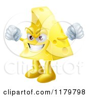 Cartoon Of A Mad Cheese Wedge Waving Fists Royalty Free Vector Clipart by AtStockIllustration