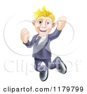 Cartoon Of A Happy Blond Businessman Jumping Royalty Free Vector Clipart