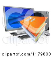 Clipart Of Books Flying Through A Computer Screen Royalty Free Vector Illustration by AtStockIllustration