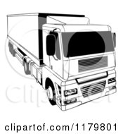 Clipart Of A Black And White Shipping Big Rig Truck Royalty Free Vector Illustration by AtStockIllustration