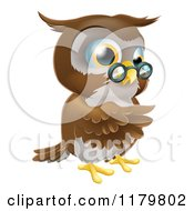 Cartoon Of A Pointing Owl Wearing Spectacles Royalty Free Vector Clipart by AtStockIllustration