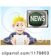 Cartoon Of A Blond Male News Anchor Smiling And Holding Notes Royalty Free Vector Clipart