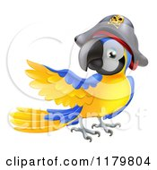 Cartoon Of A Presenting Blue And Gold Pirate Macaw Parrot Royalty Free Vector Clipart by AtStockIllustration