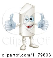 Cartoon Of A Happy Chalk Mascot Holding Two Thumbs Up Royalty Free Vector Clipart