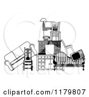 Clipart Of A Pile Of Black And White Furniture Royalty Free Vector Illustration