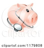 Clipart Of A Piggy Bank With A Stethoscope Royalty Free Vector Illustration