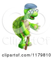 Cartoon Of A Happy Old Tortoise Walking With A Cane Royalty Free Vector Clipart by AtStockIllustration