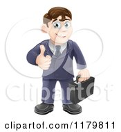 Cartoon Of A Happy Brunette Businessman Holding A Thumb Up Royalty Free Vector Clipart