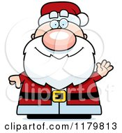 Cartoon Of A Waving Chubby Santa Royalty Free Vector Clipart by Cory Thoman