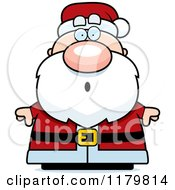 Cartoon Of A Surprised Chubby Santa Royalty Free Vector Clipart