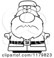 Cartoon Of A Black And White Mad Chubby Santa Royalty Free Vector Clipart