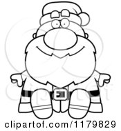 Cartoon Of A Black And White Sitting Chubby Santa Royalty Free Vector Clipart