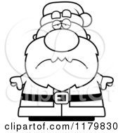 Cartoon Of A Black And White Depressed Chubby Santa Royalty Free Vector Clipart