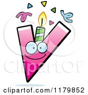 Cartoon Of A Pink Letter V Birthday Candle Mascot Royalty Free Vector Clipart