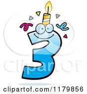 Cartoon Of A Blue Three Birthday Candle Mascot Royalty Free Vector Clipart by Cory Thoman
