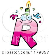 Cartoon Of A Pink Letter R Birthday Candle Mascot Royalty Free Vector Clipart by Cory Thoman