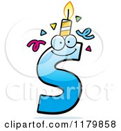 Cartoon Of A Blue Letter S Birthday Candle Mascot Royalty Free Vector Clipart by Cory Thoman