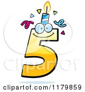 Cartoon Of A Yellow Five Birthday Candle Mascot Royalty Free Vector Clipart by Cory Thoman